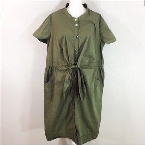 Lane Bryant army green tie waist midi dress 26